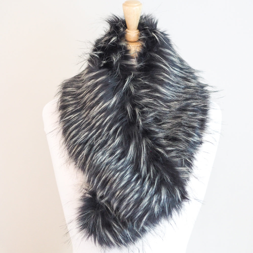 Faux Fur Collar - Grey/Black