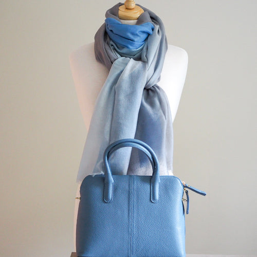 Brescia Handbag and Fine Wool Scarf - Blues