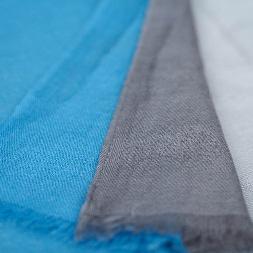 Fine Wool Scarf - Blue & Cream