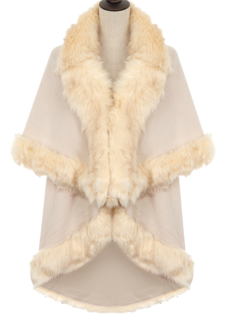 Faux Fur Trim Wrap - Cream