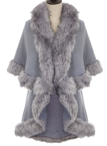 Faux Fur Trim Wrap - Grey