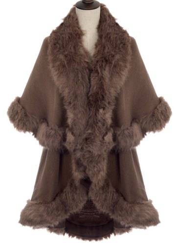 Faux Fur Trim Wrap - Chocolate