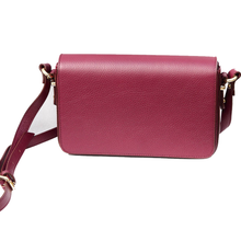 Grained Leather Shoulder Bag - Red Plum