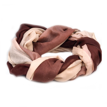 Fine Wool Scarf - Burgundy & Cream