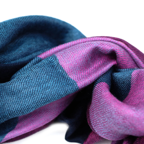 Cashmere Scarf - Navy & Purple