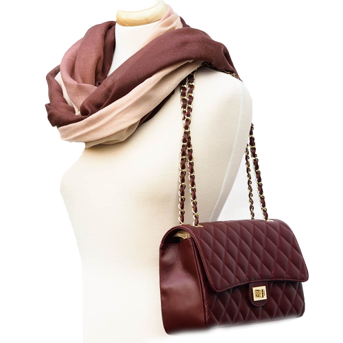 Quilted Leather Handbag & Fine Wool Scarf