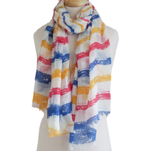 Blue, Red & Yellow Stripe Scarf