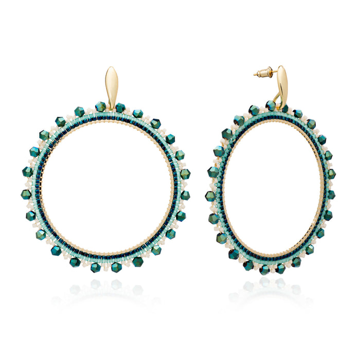 Chimila Large Bead & Crystal Hoop Earrings