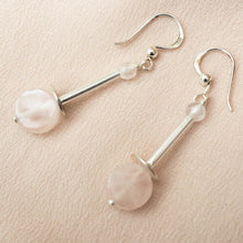 Earrings - Rose Quartz Long
