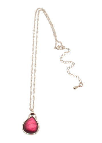 Alessandra Pink Teardrop Necklace