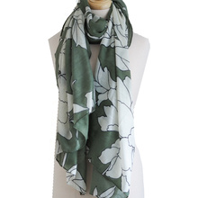 Large Flower Scarf - Green
