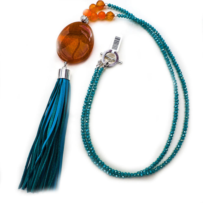 Nieve Aqua Tassel Necklace