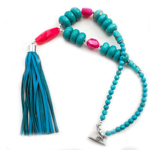 Yasmin Blue Tassel Necklace