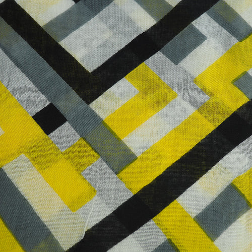 Yellow, Black & Grey Geometric Scarf