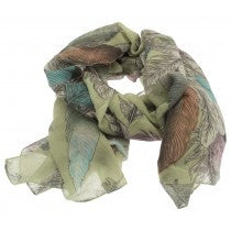 Green Feathers Scarf