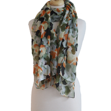 Heart Scarf - Green and Orange
