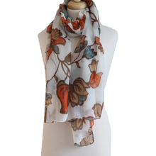 Leaves and Flowers Scarf - Orange, Teal and Camel