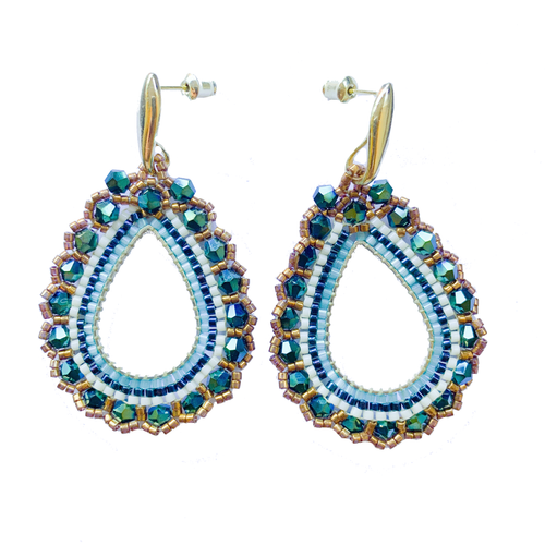 Siona Teardrop Hoop Crystal earrings