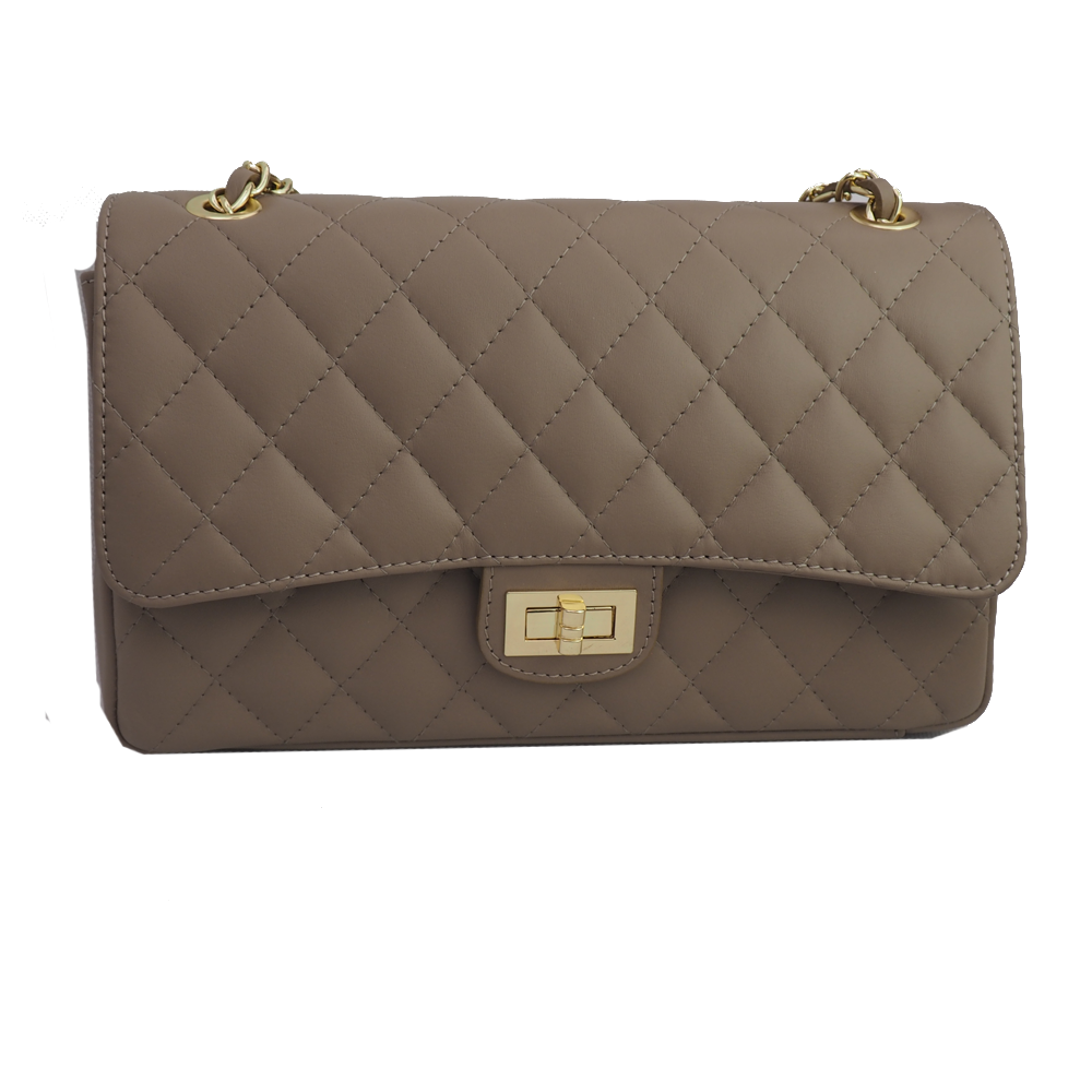 Quilted Leather Shoulder Bag - Taupe