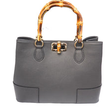 Calf Leather Bag with Wooden Handles - Dark Grey