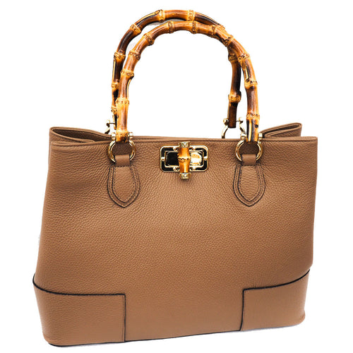 Calf Leather Bag with Wooden Handles - Taupe