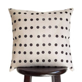 Boho Modern Farmhouse Pillow 18x18 and 20x20 Inch Cover Print with Polka Dots Design in Natural Oatmeal Color Textured Fabric