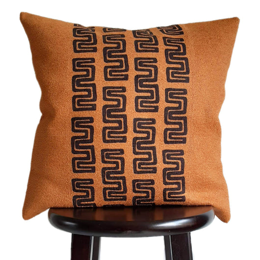 Tribal Boho Pillow Print 18x18 Inch Burnt Orange Throw Pillow, Rust Fall Pillow Textured Pillows