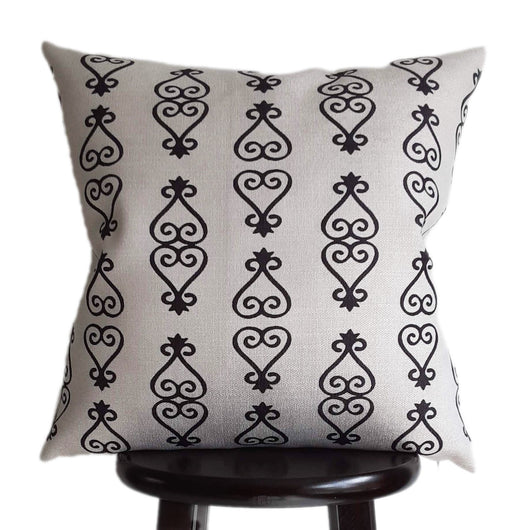 Adinkra Sankofa Pillow Cover 20x20 Inch Tribal Print in Natural Oatmeal Color Textured Fabric in Modern Boho Farmhouse Style