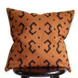Tribal 18x18 Inch Mudcloth Pillow Print on Burnt Orange Throw Pillow, Rust Fall Pillow Textured Pillows