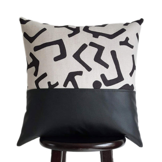 Tribal Kuba Cloth Pillow Cover Print in Oatmeal Color Textured Fabric 20x20 Inch with Black Faux Leather Pillow Cover in Color Block Design