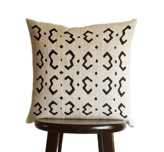 Black and Ivory Pillow Cover, Tribal Urban Ethnic Square 18x18 in Natural Oatmeal Color Textured Woven Fabric in Modern Boho Home Decor