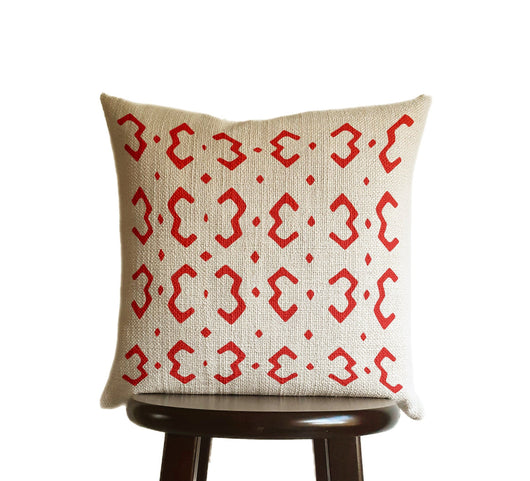 Bright Scarlet Red Pillow Cover, Tribal Urban Ethnic Square 18x18 in Natural Oatmeal Color Textured Woven Fabric in Modern Boho Home Decor