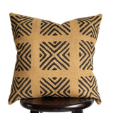 Modern Boho Farmhouse PIllow 18x18 Inch  Mustard Throw Pillow, African Adinkra Print, Ochre Golden Yellow Textured Pillows