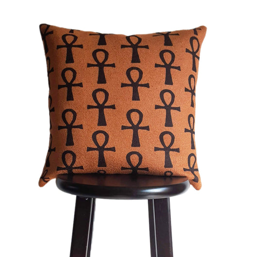Modern Boho Egyptian Ankh PIllow 18x18 Inch  Burnt Orange Color Decorative Throw Pillow, Coptic Cross Print, Textured Pillows