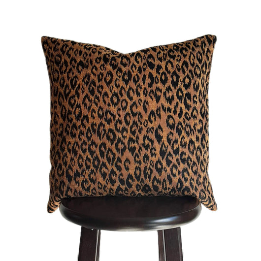Leopard Print Pillow Cover 18x18 Inch with Textured Jacquard Weave Fabric, Safari Decor for Lodge or Cabin