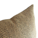 Plush Tribal Boho Pillow in Chevron Pattern Black and Beige Pillow Cover, Warm Beige Color, 20x20 Inches