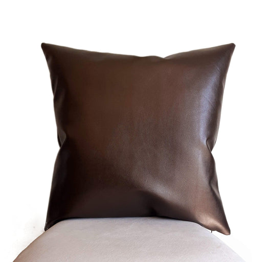 Faux Leather Pillow Cover, Front and Back Leather, Metallic Dark Bronze Color Throw Pillow Covers for Sofa Couch in Living Room Den
