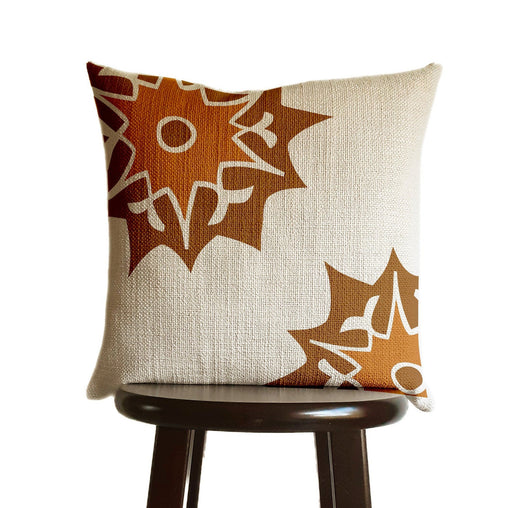 Suzani Pillow Cover Burnt Orange and Caramel Brown,  Moroccan Print in Natural Oatmeal Color Textured Woven Fabric in Modern Boho Home Decor