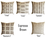 Espresso Dark Brown Pillow Cover, Tribal Urban Ethnic Square 18x18 in Natural Oatmeal Color Textured Woven Fabric in Modern Boho Home Decor