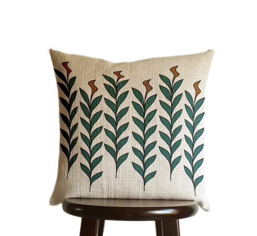Leaves Pillow Cover Print Copper Bronze Brown Teal Blue Green, Natural Oatmeal Color Textured Woven Fabric in Modern Boho Home Decor