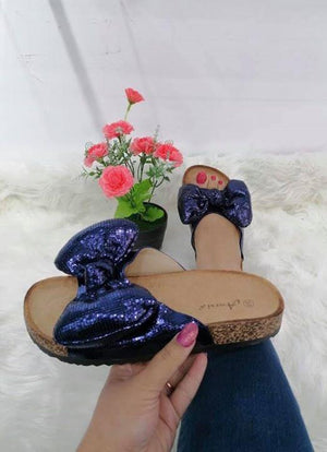 Chanelle Bow Sliders - Lulu Bella Boutique