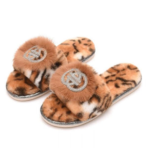 Izzy Chanel Inspired Diamante Tiger Print Slippers - Lulu Bella Boutique