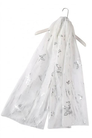 Finlay Silver Foiled Brushed Butterfly Scarf - Lulu Bella Boutique