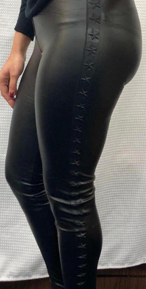 Sophie Leather Look Star Side Leggings - Lulu Bella Boutique