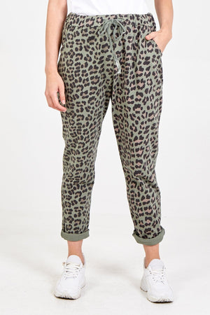 Lilly Leopard Print 4 Pocket Joggers - Lulu Bella Boutique