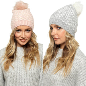 Jenna Soft Knitted Pom Pom Beanie Hat - Lulu Bella Boutique