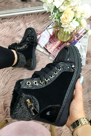 Bianca Borg Lace Up Faux Fur Ankle Boots