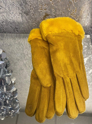 Felicity Faux Fur Suede Look Gloves - Lulu Bella Boutique