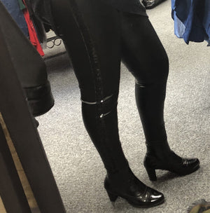 Sasha Sequin Side Leather Look Leggings