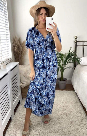 Sheena Floral Elasticated Maxi Dress - Lulu Bella Boutique